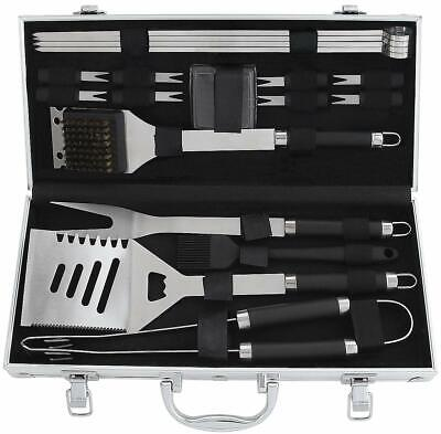 19Pcs Heavy Duty Stainless Steel BBQ Grill Tool Accessories Set Kit In Gift Box
