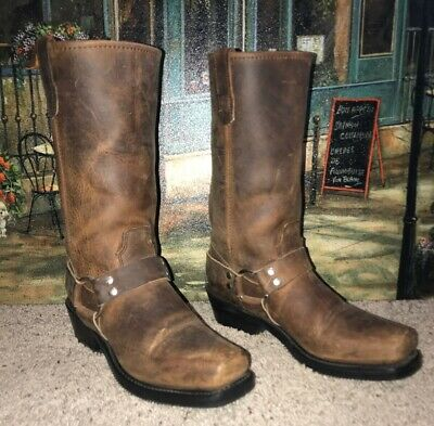 Double-H 5006 Women's Brown Leather Motorcycle Square Toe Harness Boots SZ 9.5 M
