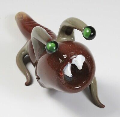 "6.5"" Handblown Brown Slug Monster Ribbed Art Glass Hand Smoking Spoon Bowl Pipe"