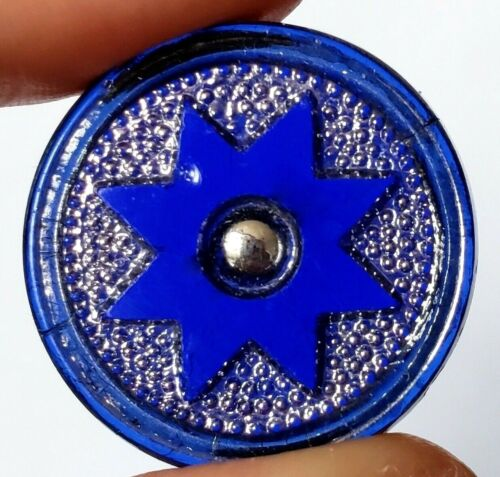 Antique Transparent Cobalt Blue Glass Button with Silver Luster…8 Point Star