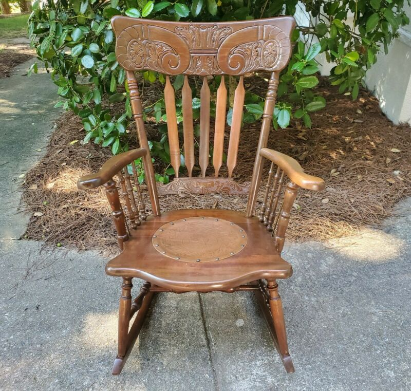 Antique Vintage Armed Carved Back Rocker Stamped Pressed Leather Rocking Chair