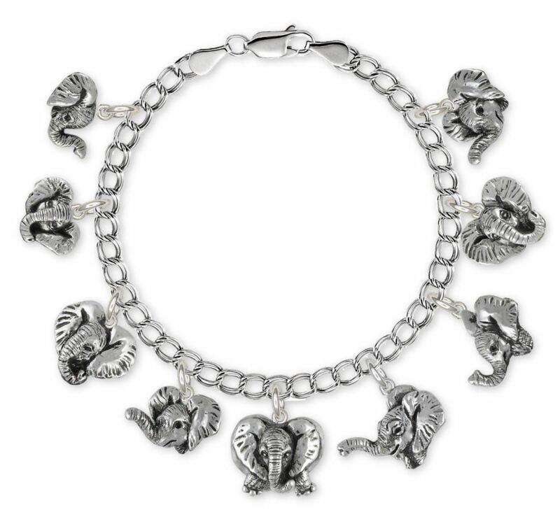Elephant Jewelry Sterling Silver Elephant Bracelet Handmade Wildlife Jewelry EL-