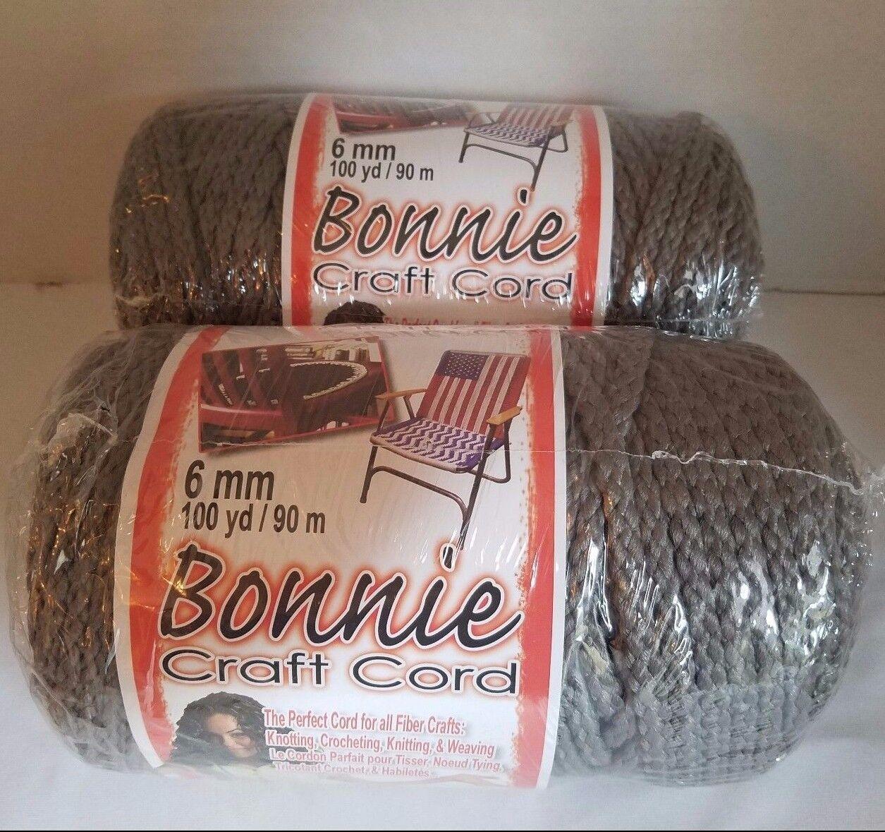 Bonnie craft cord 6mm - Lot Of 2 Rolls Smoke Gray 6mm Bonnie