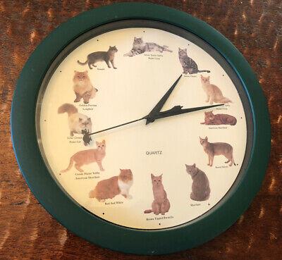 Vintage Quartz Cat Clock with 12 Different Cat Meow Sounds