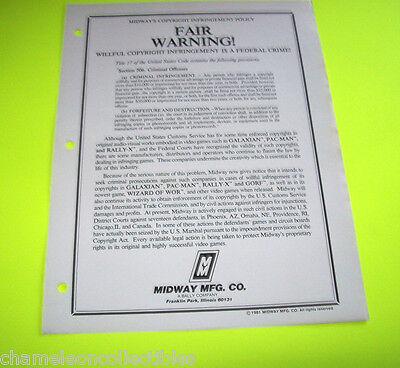 FAIR WARNING BALLY MIDWAY 1981 ORIGINAL VIDEO ARCADE GAME SALES FLYER BROCHURE