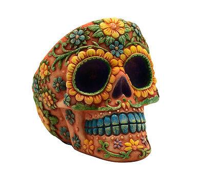 Orange Day of the Dead Sugar Skull Ashtray Mexican Dia De Los Muertos Calavera
