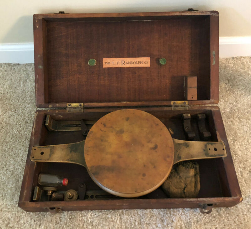 Antique T.F. Randolph Co. Brass Surveyors Compass W/ Wood Box