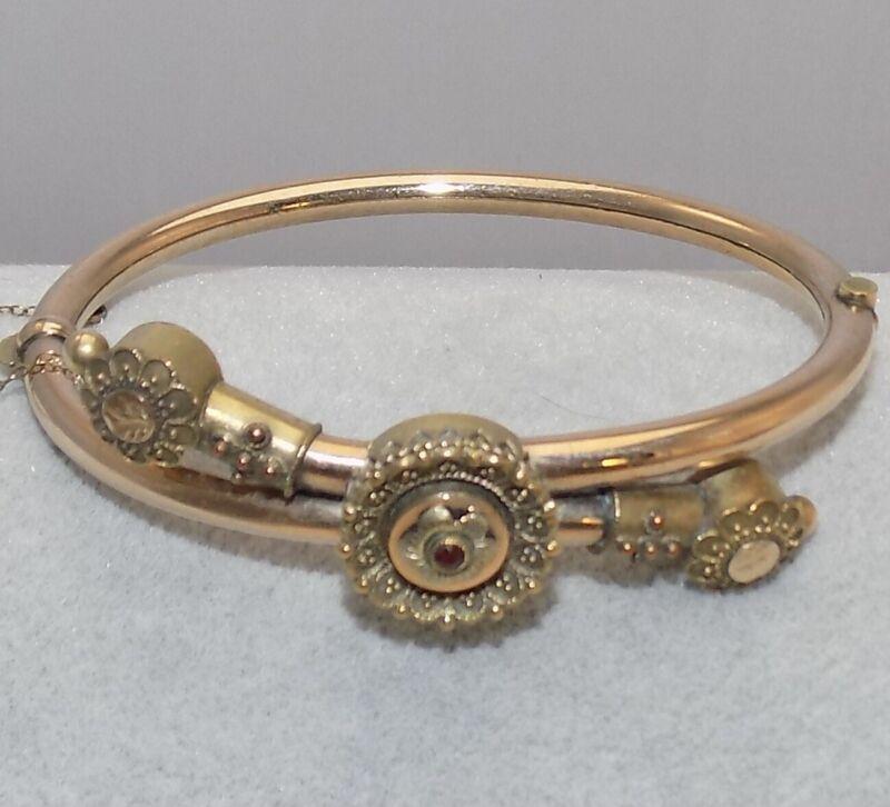 FINE Antique Victorian Gold Filled Bohemian Garnet Hinge Wedding Bangle Bracelet