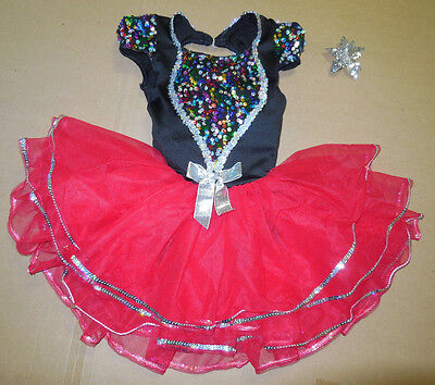 New Tap Ballet Dance Costume Attached Red Tutu Spotlight Hologram Sequin