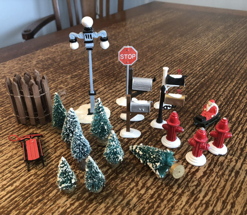 20 Christmas Village Figurines Accessories Lot Dept 56 Lemax Mailboxes Trees