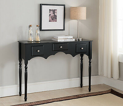 Kings Brand Furniture - Entryway Sofa Console Table with Drawers, Black Finish