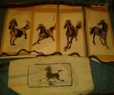 Antique Asian/Oriental Set of 4+1 Textured Prints Horse Scrolls Ink Block Print