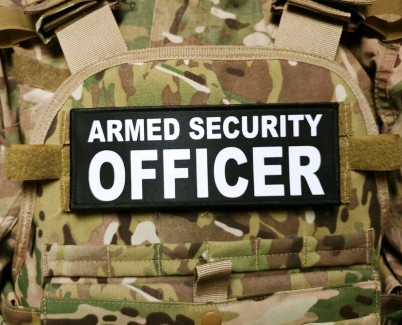 """3x8"""" ARMED SECURITY OFFICER Black White Hook Back Patch Badge for Plate Carrier"""