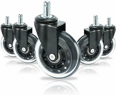 5-pack 3 Inch Heavy Duty Office Chair Caster Pu Swivel Wheels Replacement