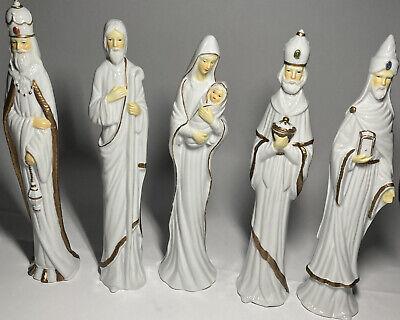"Set of 5 10"" Slim Porcelain Nativity Christmas Treasures Vtg 1993 Hand Painted"