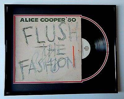 Proof ALICE COOPER Signed 1980 FLUSH THE FASHION Record Album FRAMED DISPLAY
