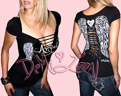 Sexy Angel Wings Tattoo Ladies Biker Tee |Slashed Gothic Grraphic Punk -