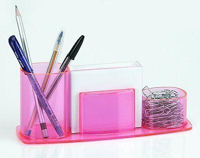 Acrimet Millennium Desk Organizer Pencil Paper Clip Cup Holder W Paper Pink