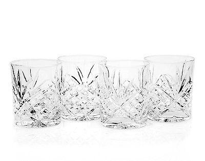 Crystal Whiskey Glasses Godinger Dublin, Double Old Fashioned Glass set of 4