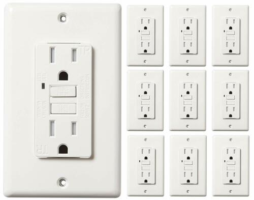 15 AMP GFCI (GFI) Receptacle Outlet -TAMPER RESISTANT WR WHITE UL GFCI  (10PACK)
