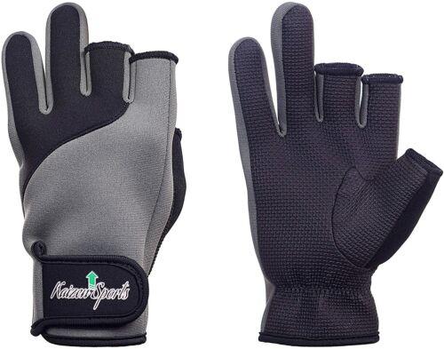 Neoprene Fishing Gloves for Men and Women - Protective, 3-Cut Fingers, Anti-slip