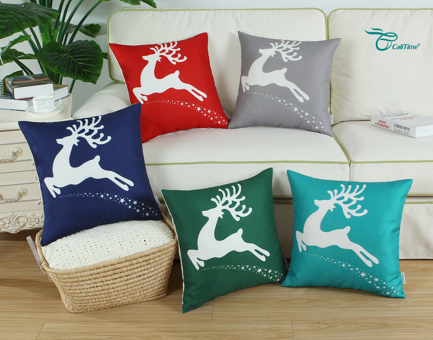 CaliTime Cushion Cover Pillow Shell Holiday Reindeer Stars S
