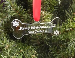 Personalised-DOG-BONE-pet-Tree-Decoration-Bauble-First-Christmas-Together-Gift
