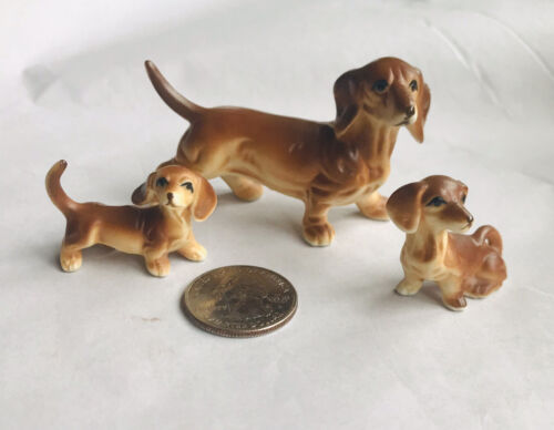 VTG BONE CHINA MINIATURES DACHSHUND DOG  ...
