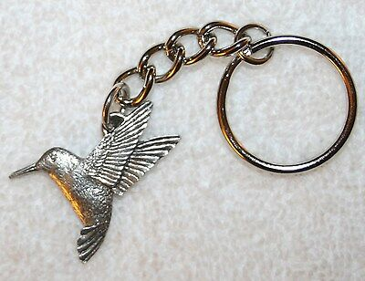 Hummingbird Humming Bird Fine Pewter Keychain Key Chain Ring USA Made