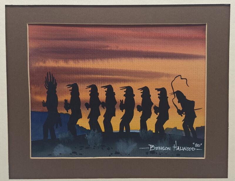 "BENSON HALWOOD / Navajo Spirits ""Yei's"" Original Watercolor Painting 1986"