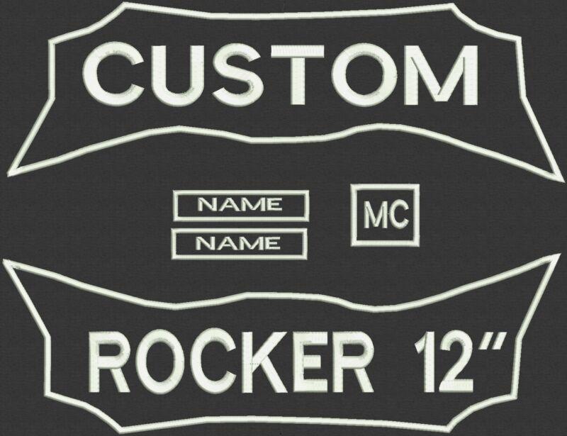 "5 Pieces Custom Embroidered Rocker Patch Set Biker Motorcycle Badge 12"" - Set B"