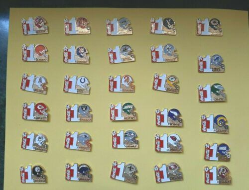 Coca-cola Pin Set of 30 pins NFL HELMET #1 Coke