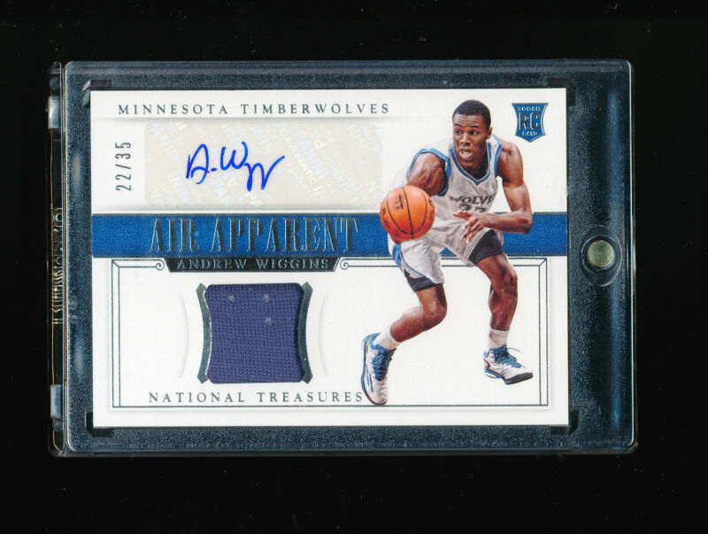 1/1 Andrew Wiggins 2014-15 National Treasures Air Apparent Auto Jersey #ed 22/35