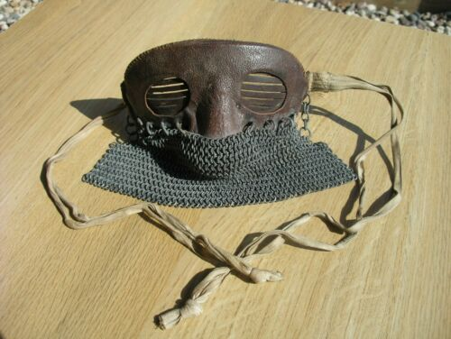 WW1 TANK CREW PROTECTIVE SPLINTER SPLATTER MASK – LEATHER CHAIN MAIL TRENCH WAR