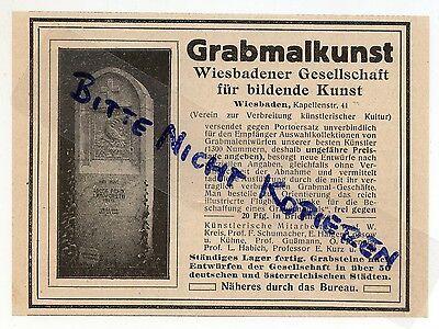 WIESBADEN, Werbung 1913, Grabmalkunst Wiebadener Gesellschaft für bildende Kunst
