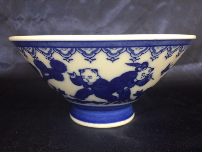 "Asian Porcelain Blue & White Children Playing Butterflies Rice Foot Bowl 6""x3"""