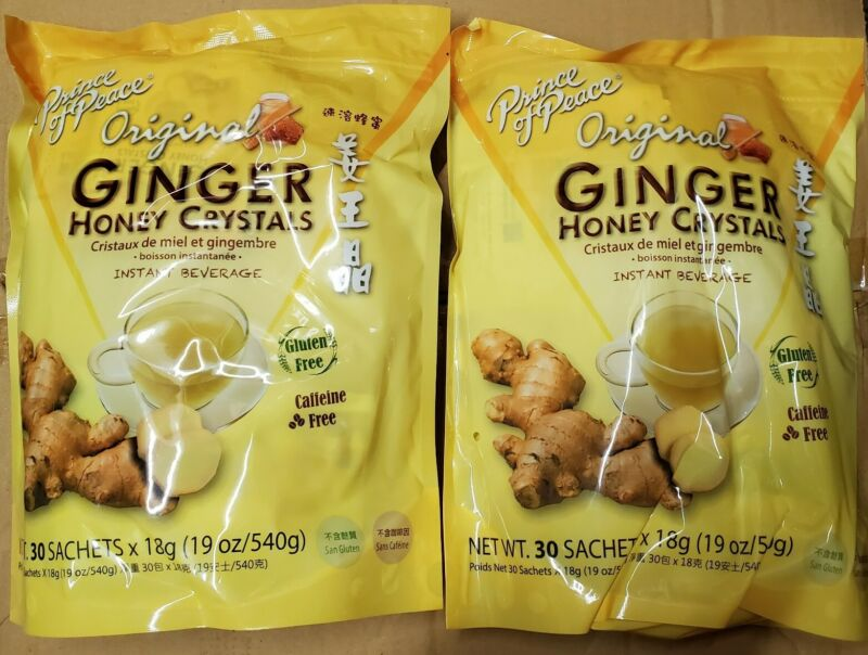 2 Bags, Prince of Peace Original Ginger Honey Crystals Tea 2 X 30 Sachets