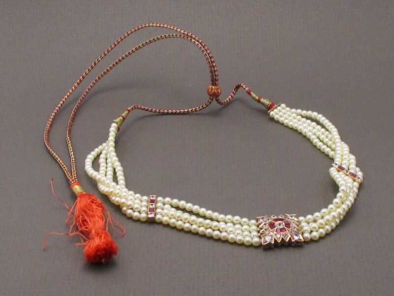 Antique Edwardian 10k Yellow Gold Ruby White Topaz Pearl Necklace 28.2g i4019
