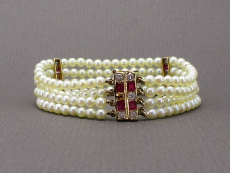 Antique Edwardian 10k Yellow Gold Ruby White Topaz Pearl Bracelet 15.6g i4019