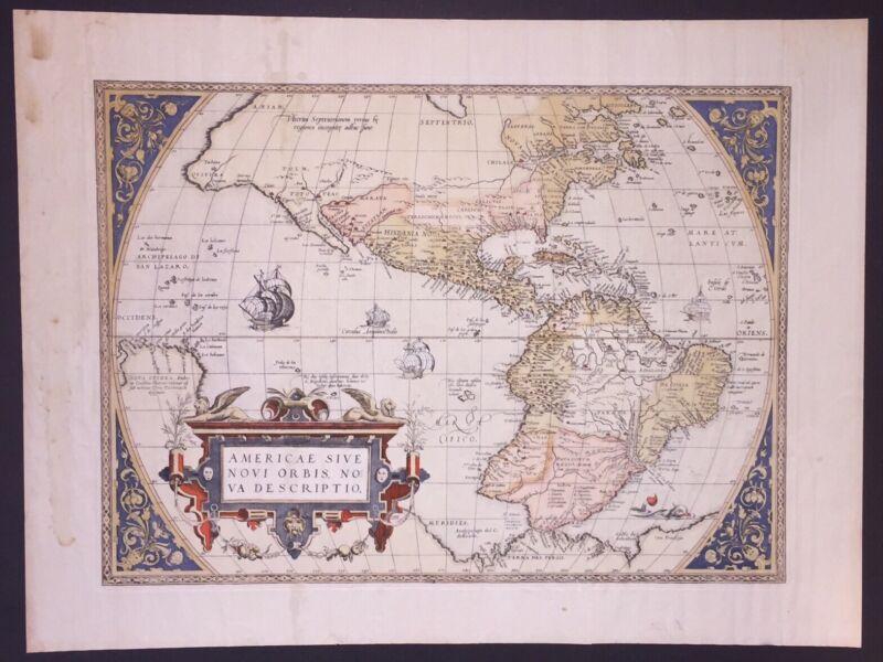"1586 Americas Map~""Americae Sive Novi Orbis Nova Descriptio""~by Abraham Ortelius"