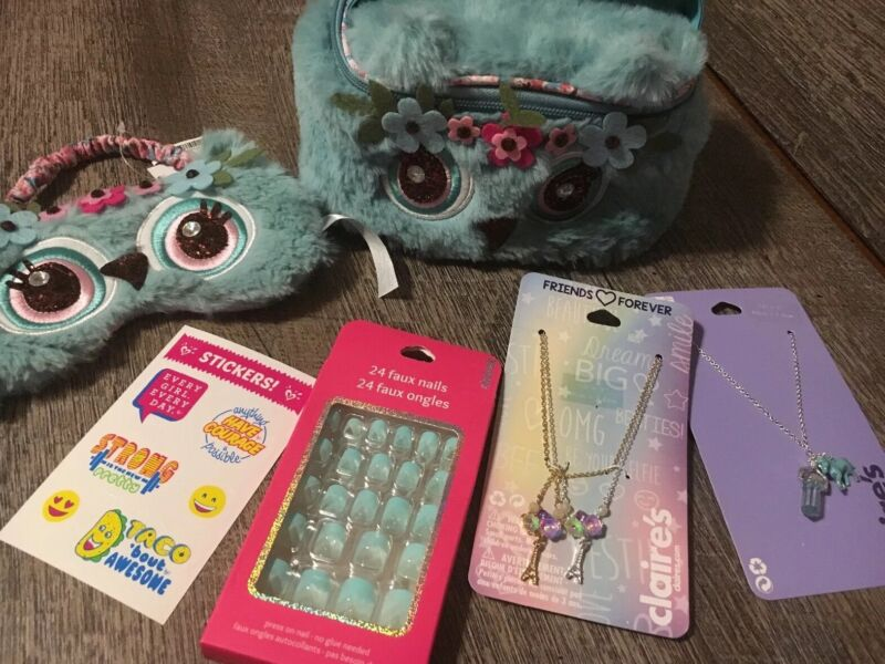 Claire's Owl Cosmetic Bag Jewelry Unicorn Paris Lot Justice Stickers
