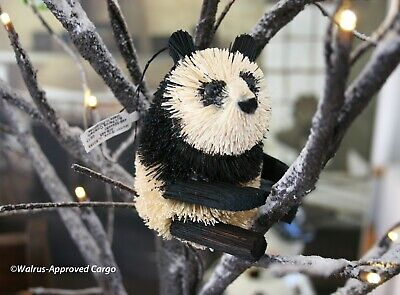 CRATE & BARREL BURI PANDA ORNAMENT -NWT- HAPPY TO BE UP A TREE, WITHOUT BAMBOO! ()