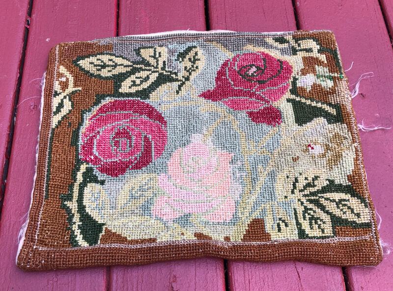 Antique Vintage Needlepoint Pillow Cushion Case Silk Back Floral Hand Woven