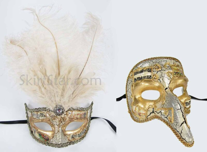 SET of VENETIAN half MASK men women masquerade feather renaissance fair Male NEW