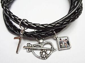 One Direction Charm Bead Leather Bracelet - Harry Zayn Liam Louis Niall
