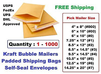 000 00 0 1 2 3 4 5 6 7 Kraft Bubble Mailers Padded Shipping Envelopes -1 25 100