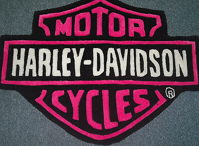 Hot Pink Carpet (HARLEY DAVIDSON HAND CARVED RUG  HOT PINK 100% Acrylic Bar & Shield)