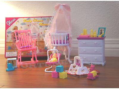 GLORIA DOLLHOUSE FURNITURE SIZE BABY HOME NURSERY W/ Crib PLAY SET FOR DOLLS