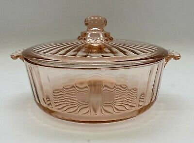 Pink Depression Glass Powder Puff Box Round Art Deco Style Beaded Handles