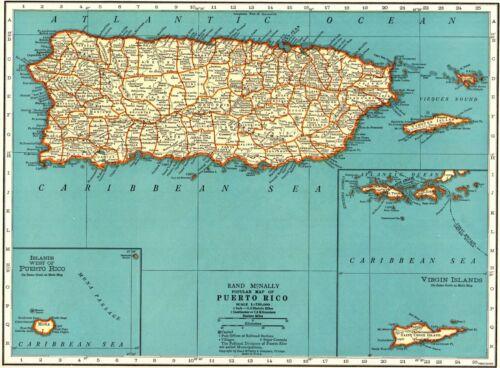1939 Antique PUERTO RICO Map Vintage Map of Puerto Rico Gallery Wall Art 8436